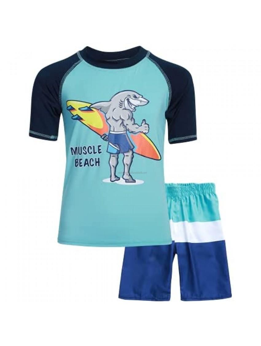 Sweet & Soft Boys UPF 50+ Boys Short Sleeve 2 Piece Rash Guard & Trunk Swimsuit Set (Infant/Toddler/Little Kid)