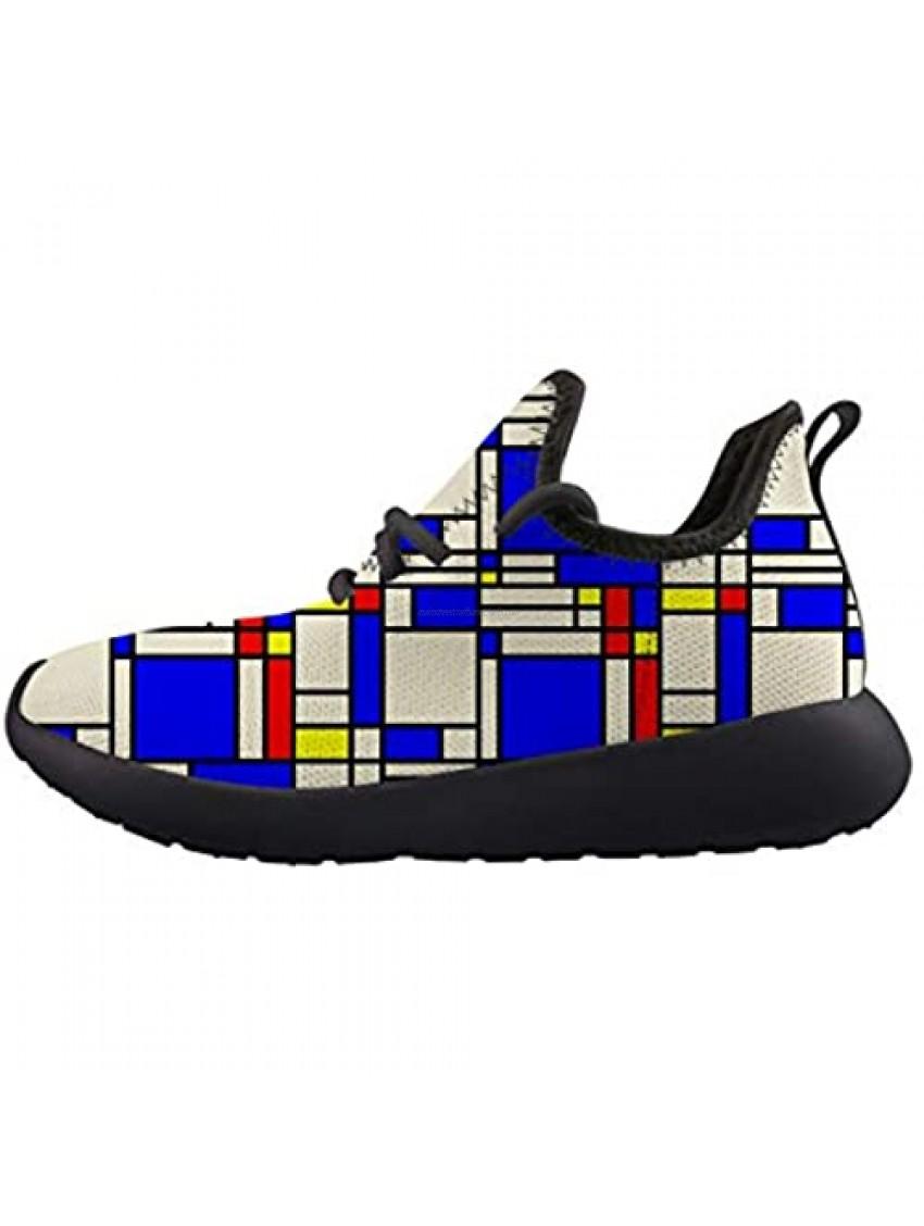 Owaheson Artistic Mondrian Style Kids Sneaker Lightweight Breathable Running Tennis Boys Girls Shoes