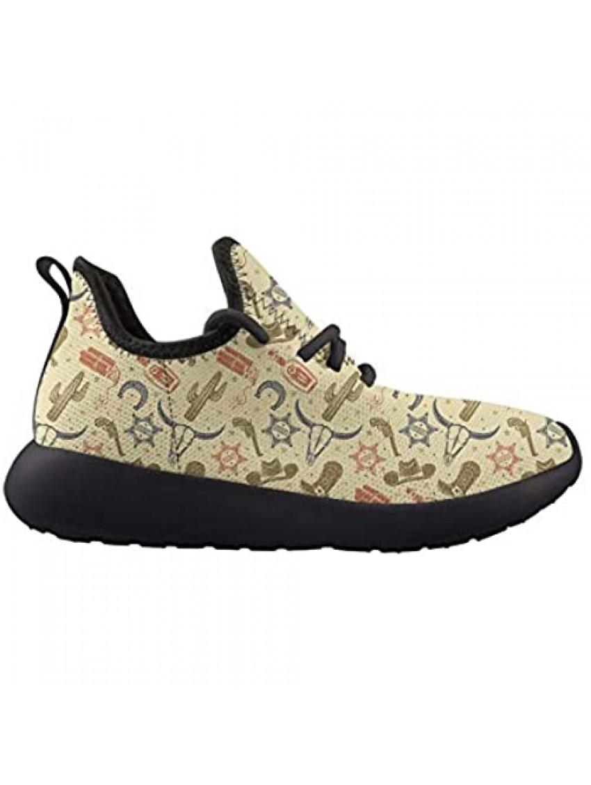 Owaheson Bull Skull Cactus Medal Boot Cowboy Hat Kids Sneaker Lightweight Breathable Running Tennis Boys Girls Shoes