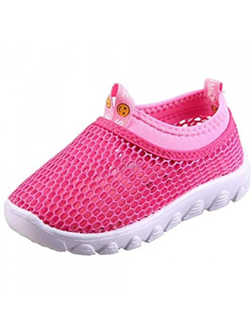 EQUICK Toddler Kids Water Shoes Breathable Mesh Running Sneakers Sandals for Boys Girls Running Pool Beach U220SCKTWX-Pink-19