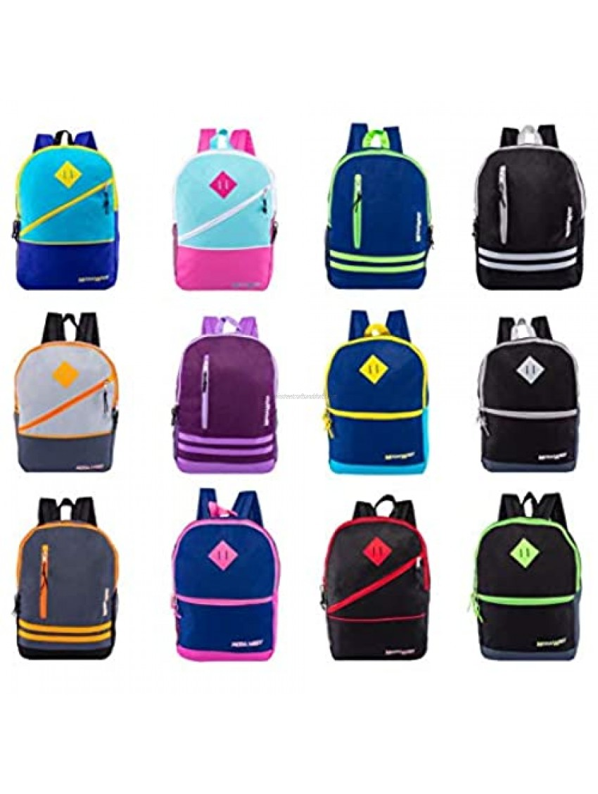 24 Pack - 17 Inch Bulk Backpacks with Front Zipper in 12 Assorted Styles Colors - Wholesale Bookbags