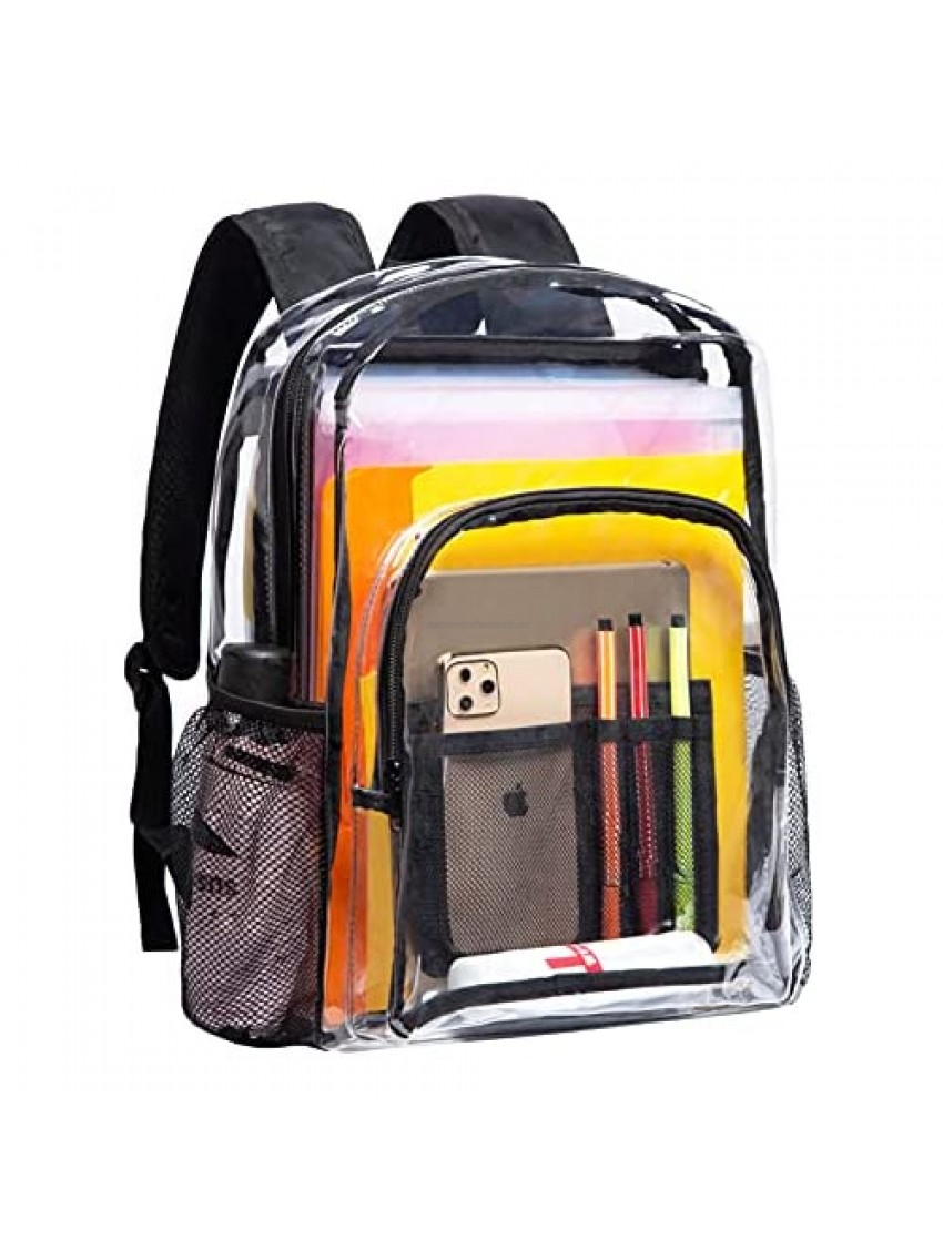 Vorspack Clear Backpack Heavy Duty PVC Transparent Backpack with Reinforced Strap for College Workplace