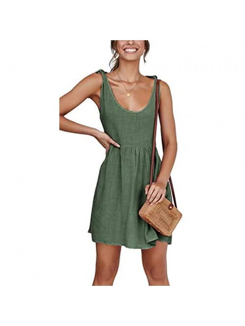 CNJFJ Womens Summer Shoulder Tie Strap Babydoll Dress Casual Scoop Neck A-Line Skater Swing Mini Sundress