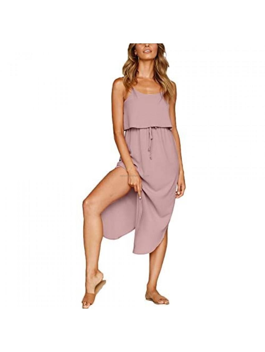 NERLEROLIAN Women's Adjustable Strappy Split Summer Beach Casual Midi Dress