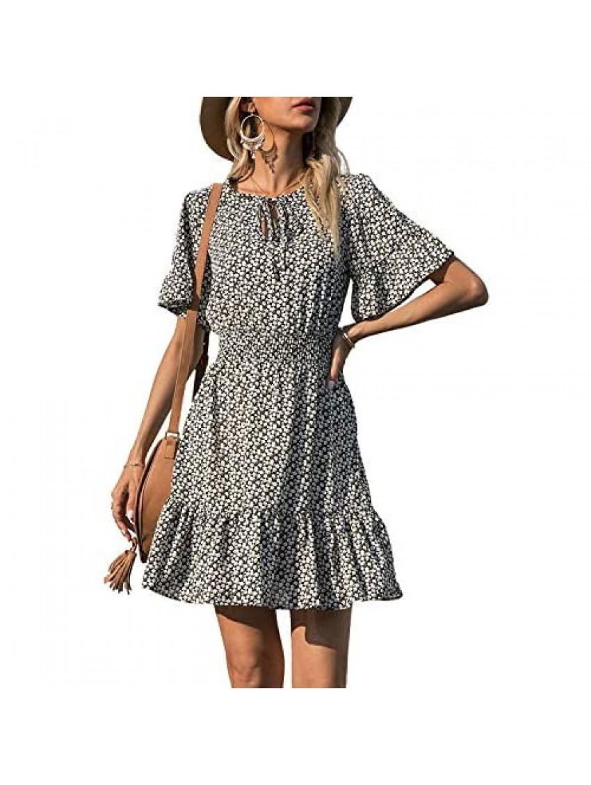 PRETTYGARDEN Women's Summer Boho Short Dresses Floral Print Tie Neck Short Sleeve Elastic High Waist Ruffle Mini Skater Dress