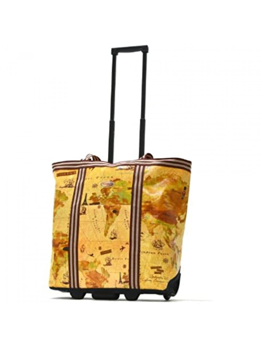 Olympia Luggage Cosmopolitan Rolling Shopper Tote Map One Size