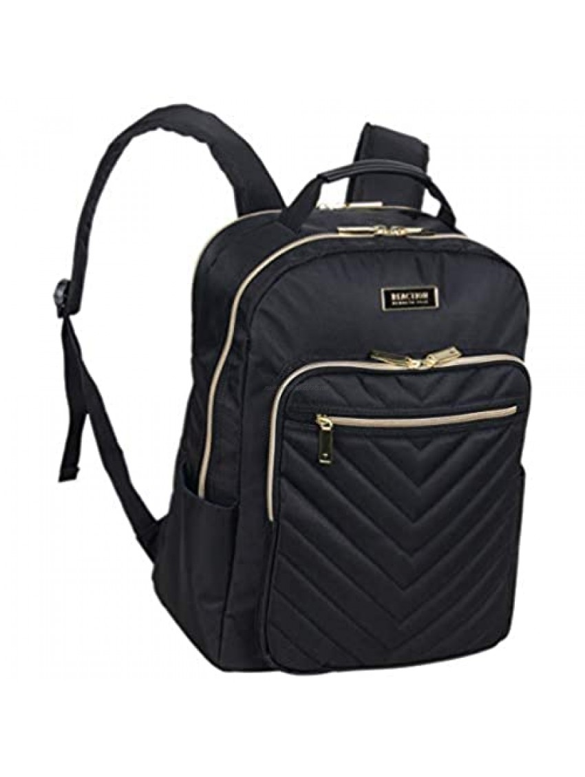 Kenneth Cole Reaction Women's Chelsea Backpack Chevron Quilted 15-Inch Laptop & Tablet Fashion Bookbag Daypack  Black  One Size