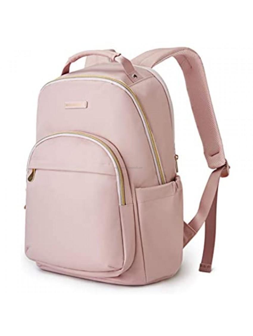 """Laptop Bag LIGHT FLIGHT Laptop Backpack for Women Travel Laptop Bag School College Large Computer Daypack Fits 15.6"""" Pink"""
