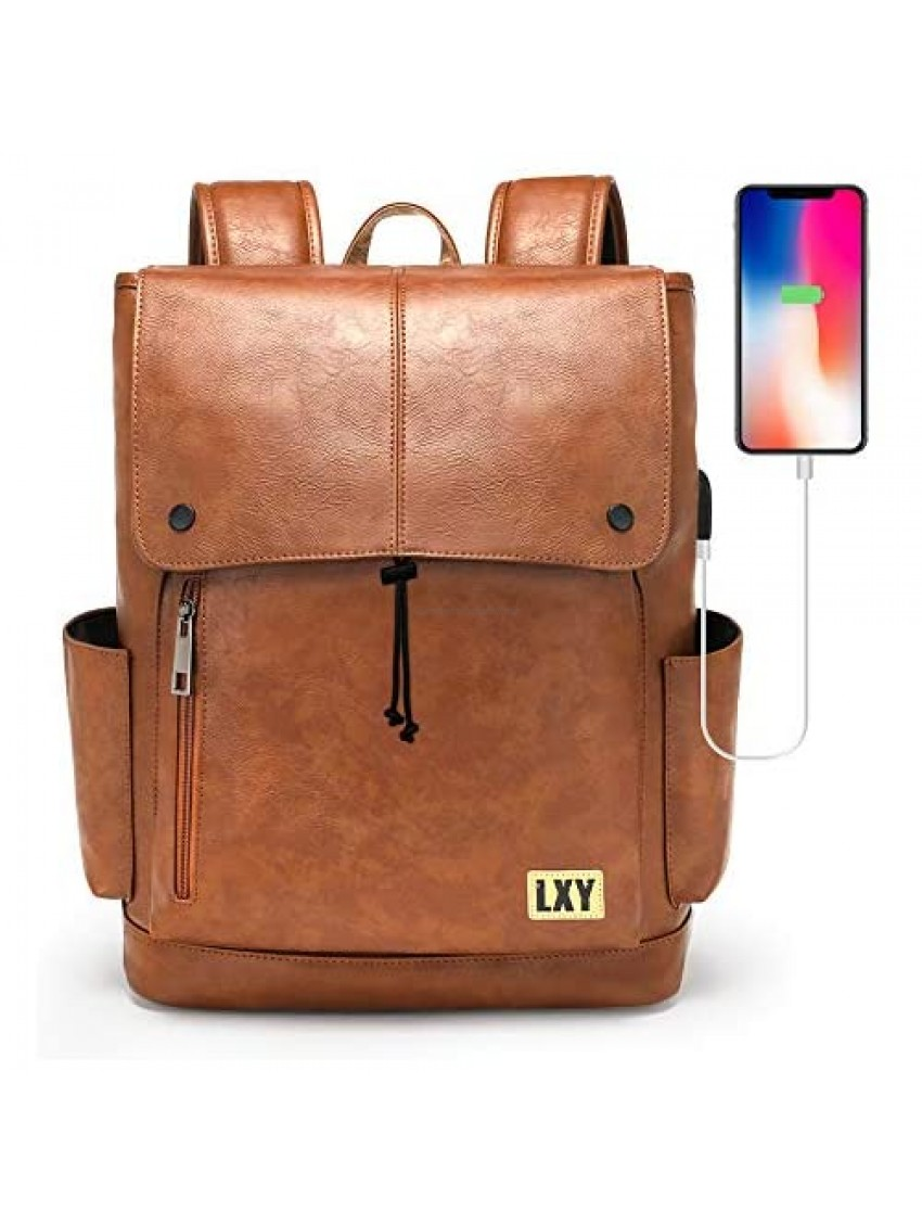 LXY Backpack Purse for Women Men  15.6 Inches Laptop Bookbag with USB Charging Port  Vintage Daypack with Drawstring Closure