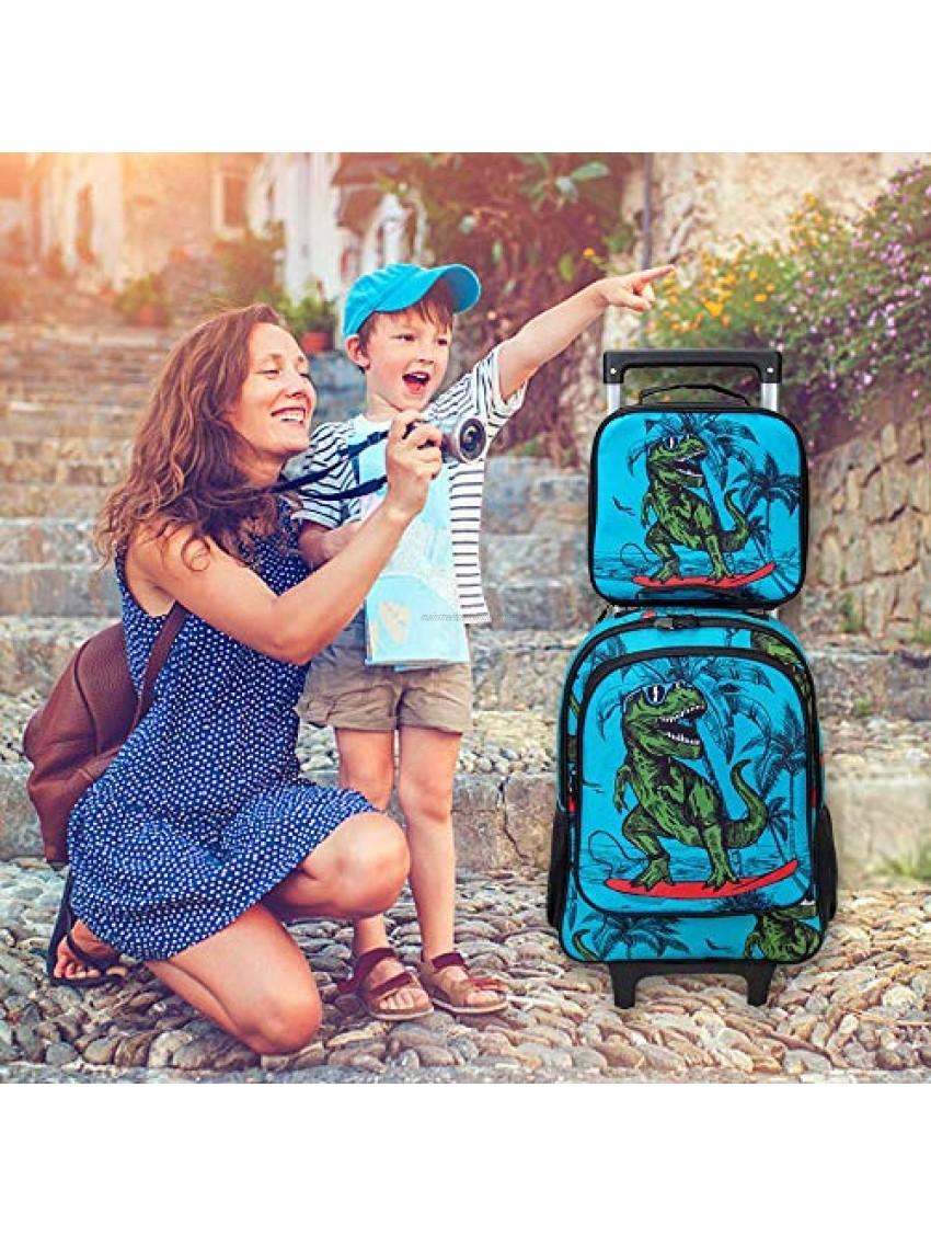 3PCS Rolling Backpack for Boys Kids Dinosaur Wheeled Bookbag