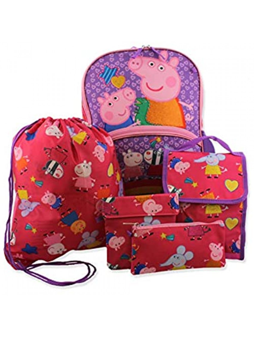 Peppa Pig Girls 5 piece Backpack and Lunch Bag School Set (One Size  Pink/Purple)
