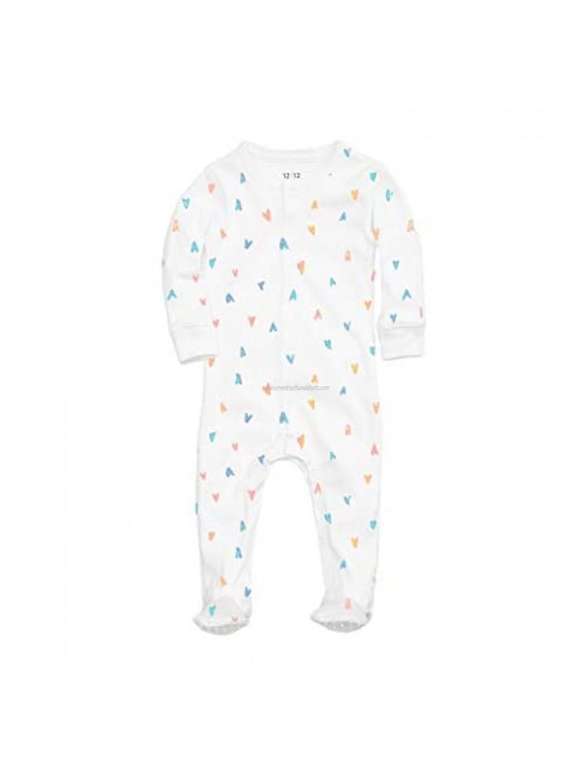 1212 Baby Footed Pajama with Non-Skid Feet - 100% Organic Pima Cotton (Pastel Hearts  Newborn)