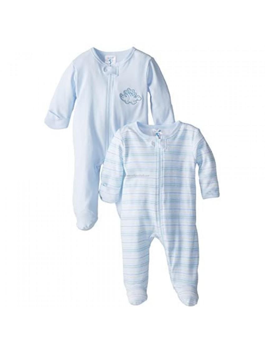 Spasilk Baby Boys' 100% Cotton Two-Pack Sleepwear Footie Set