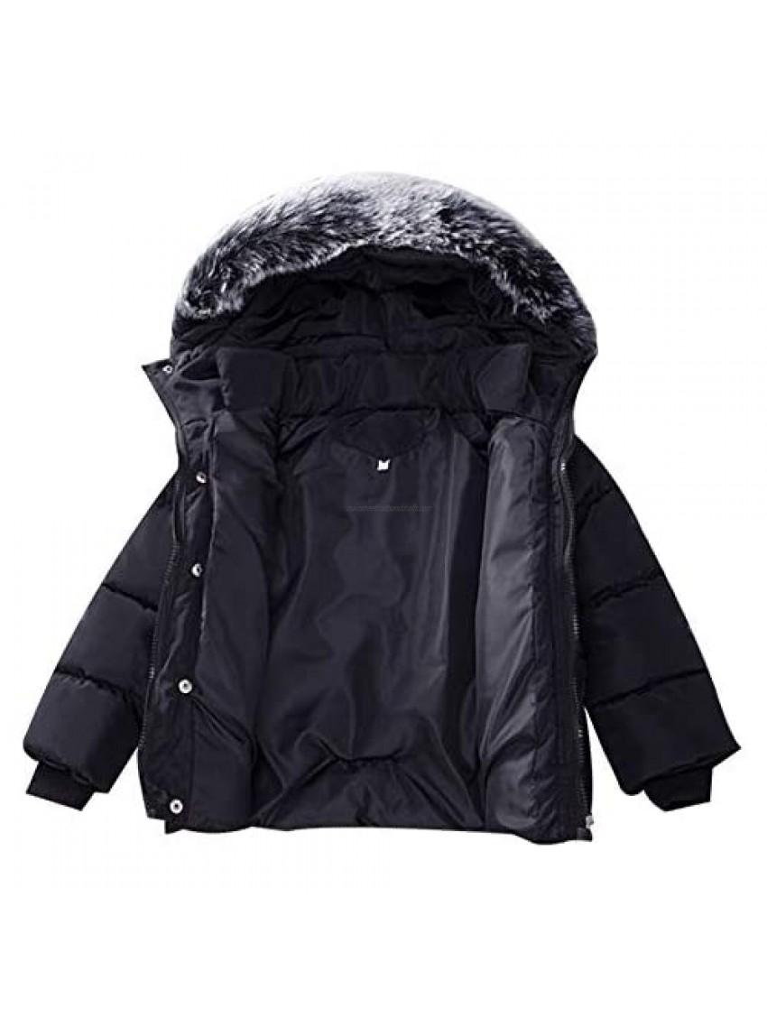 Baby Girl Boy Winter Coats Thicken Fur Collar Hoodie Down Jacket Windproof Snowsuit Clothing