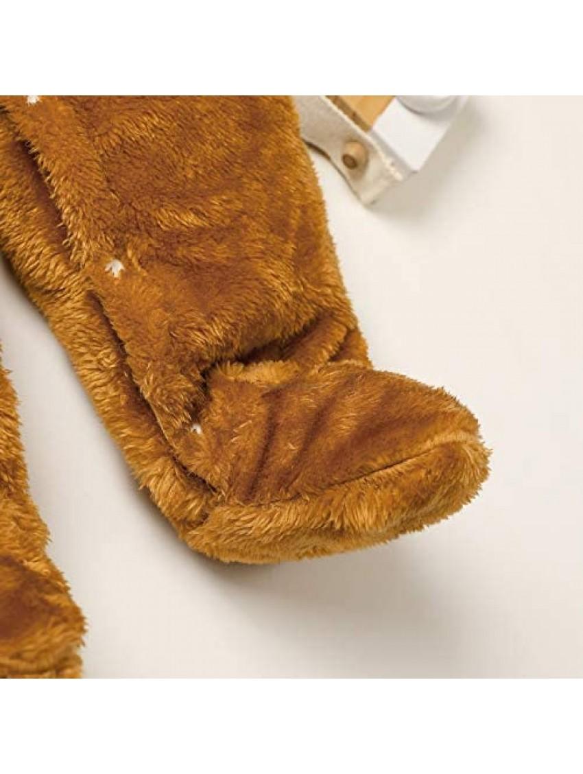 Dourbesty Newborn Baby Girl Boy Cartoon Bear Snowsuit Cotton Fleece Hooded Onesies Romper Jumpsuit Fall Winter Clothes