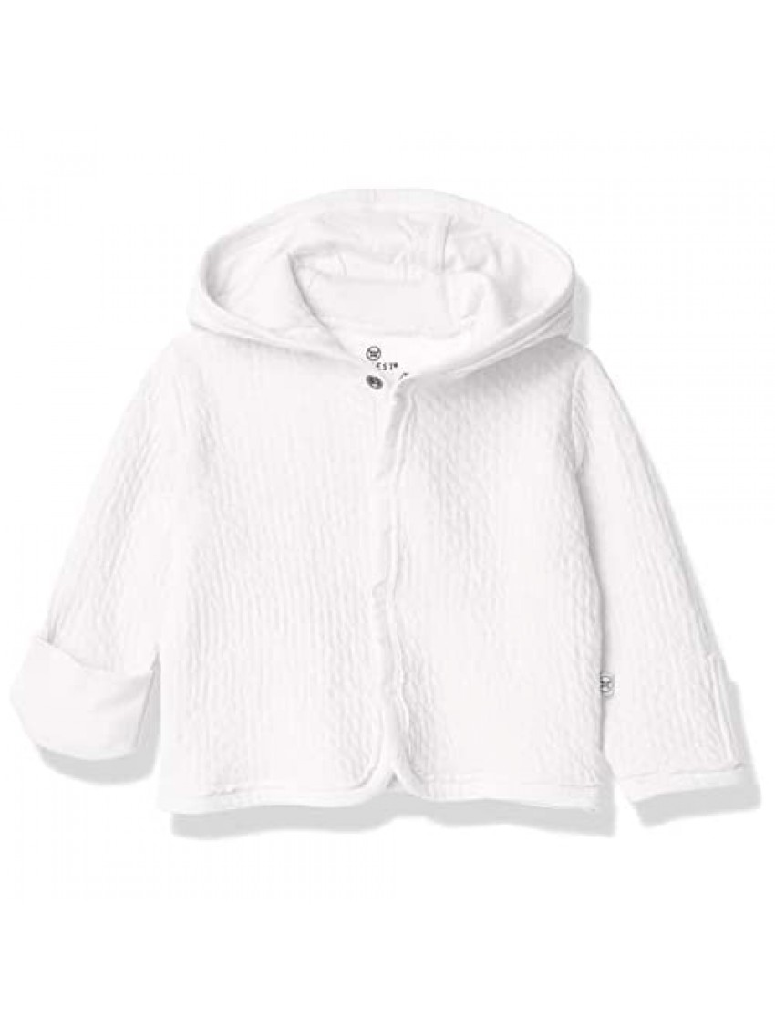 HonestBaby Baby Organic Cotton Matelasse Snap-Front Hooded Jacket