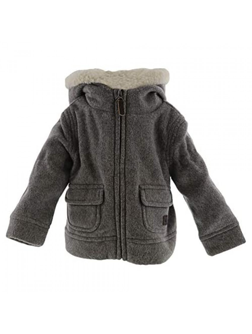 Janie and Jack Heather Grey Sherpa Lined Hooded Jacket - 12-18 Months