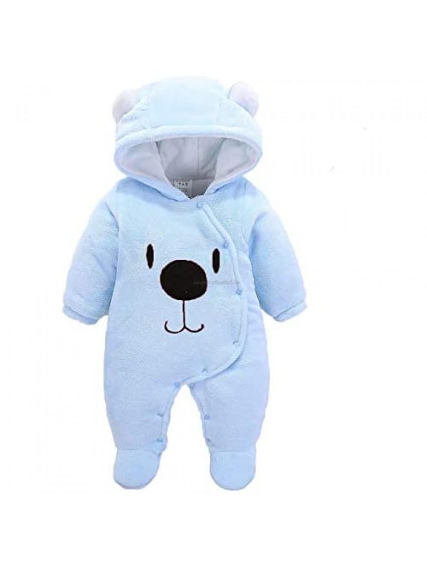 YAMEN Newborn Baby Boy Girl Sleepers Infant Snowsuit Bodysuit Footie Fleece Romper Toddler Winter Outfits 0-1 Year