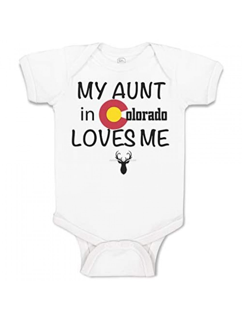 Custom Baby Bodysuit My Aunt in Colorado Loves Me Valentines Boy & Girl Clothes