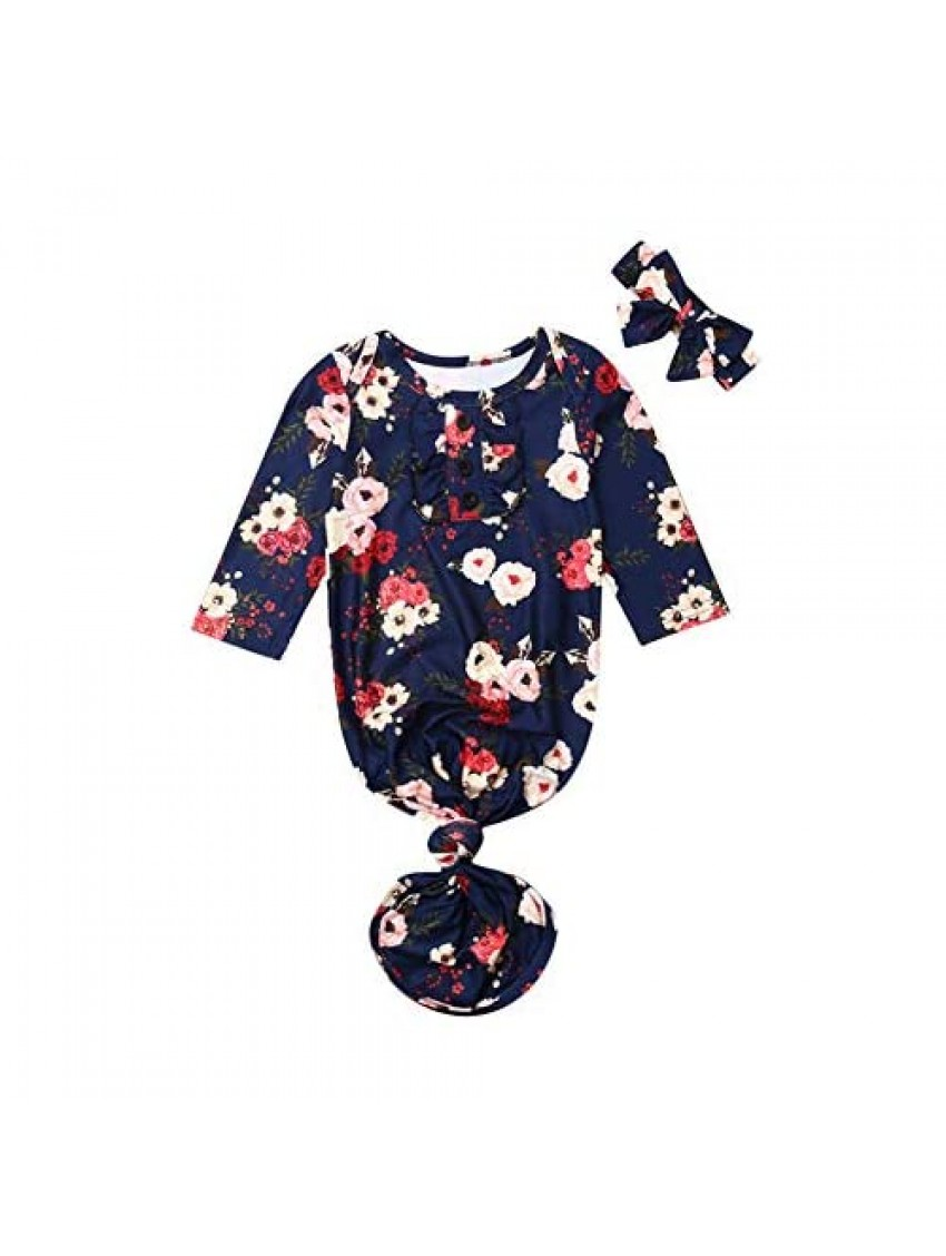 Newborn Infant Baby Boy Girl Receiving Blanket Romper Cotton Floral Mermaid Tail Knotted Pajamas Swaddle Sleeper Headband