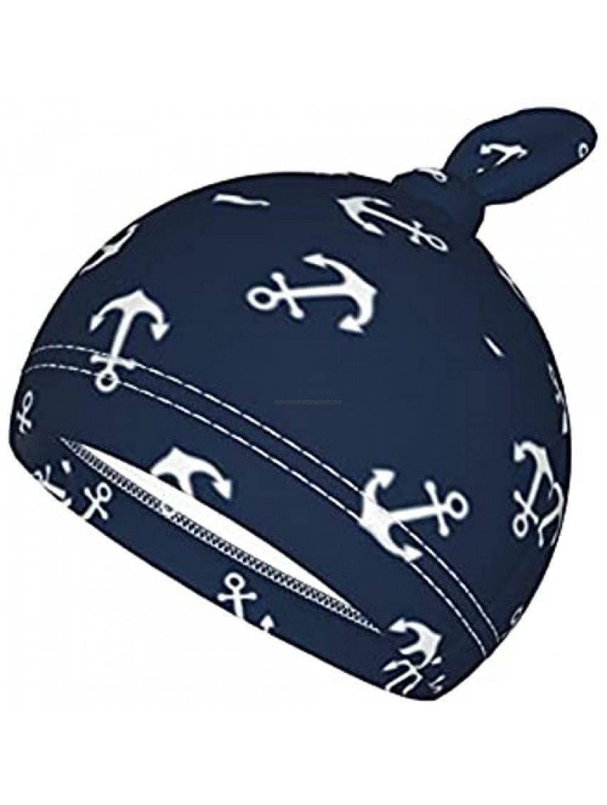 Newborn Swaddle Blanket Baby Receiving Blankets Swaddle Wrap Blanket Anchor Navy with Beanie Hat Soft for Baby Boy Girl Gifts
