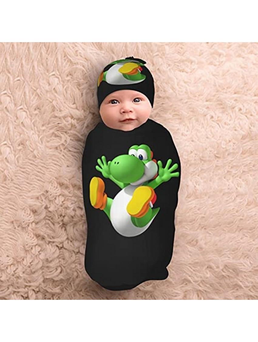 Yoshi Super Mario Newborn Swaddle Blanket with Beanie Hat Set Baby Receiving Blankets Wrap