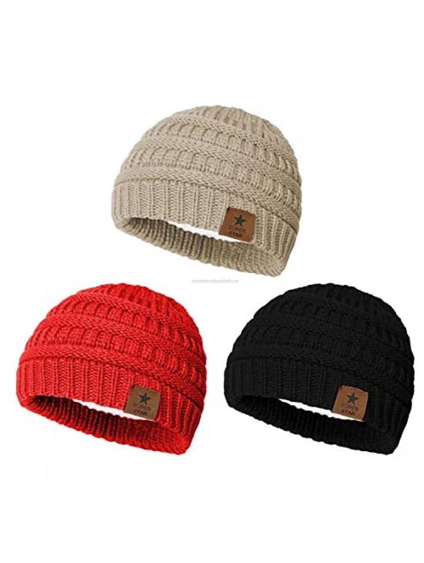 Zando Baby Winter Warm Fleece Lined Beanie Hat Infant Toddler Kids Soft Cozy Knit Cap for Boys Girls