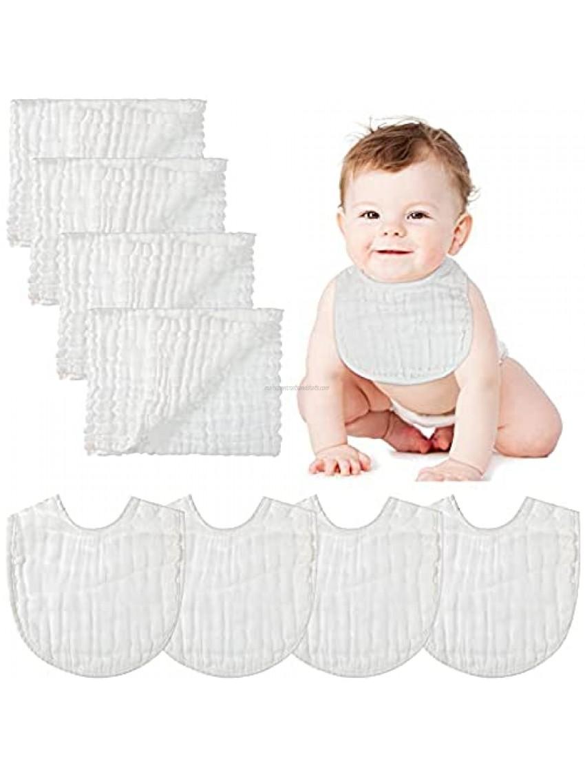 Huukeay 8 Pieces Muslin Burp Cloth Baby Bandana Drool Bibs Set Soft Baby Muslin Washcloths Adjustable Baby Scarf Bibs 6-Layer Absorbent Burp Towels for Baby Infant Newborn Teething and Drooling