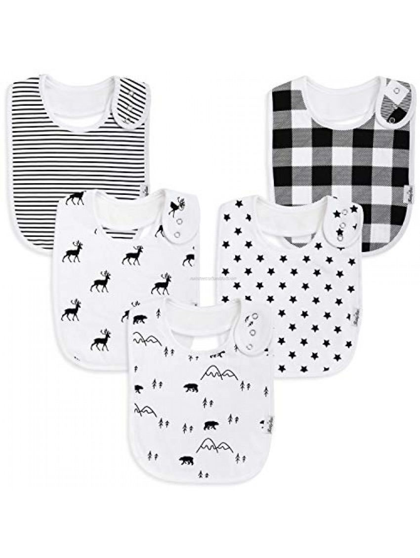 Premium  Organic Cotton Toddler Bibs  Unisex 5-Pack Extra Large Baby Bibs for Boys and Girls by KiddyStar  Baby Shower Gift for Feeding  Drooling  Teething  Adjustable 5 Positions (Bears & Reindeer)