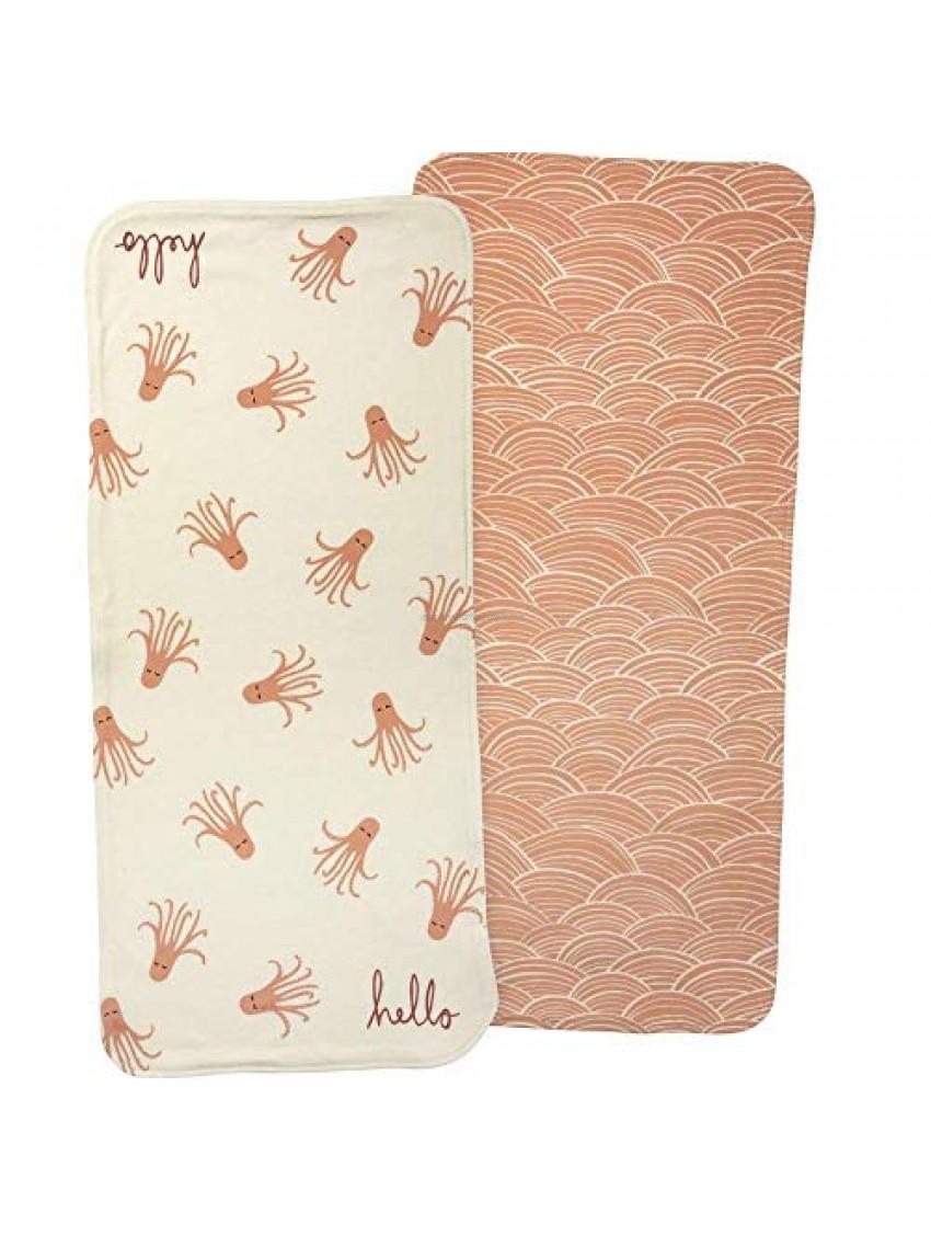 Primitives By Kathy Under Sea Hello Burp Cloth Set of 2  Pink