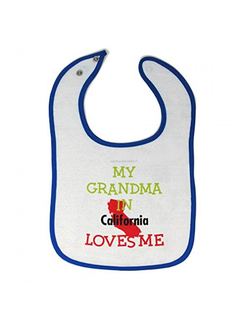 Toddler & Baby Bibs Burp Cloths My Grandma in California Loves Me Grandmother Funny New Cotton Items for Girl Boy Gifts from Ah White Royal Blue Design Only