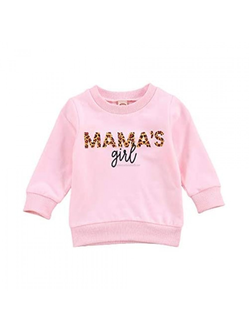Toddler Baby Boy Girl Hoodies Tops Long Sleeve Sweatshirt Pullover Hooded Sweater Fall Winter Clothes 1-6 Years (Pink (MAMA GIRLPullover )  3-4T)