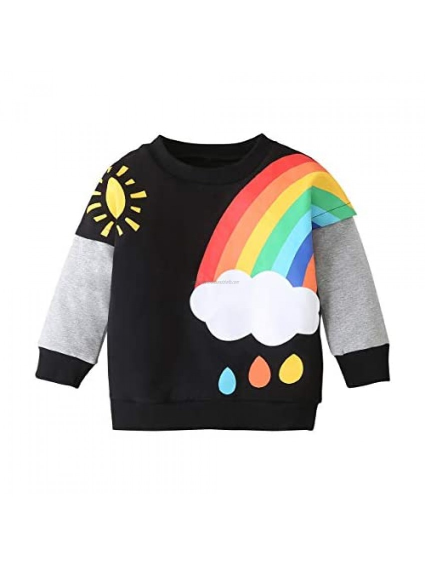Toddler Baby Boy Pullover Sweatshirt Long Sleeve Crewneck Rainbow Sweater Top Fall Winter Blouse Clothes