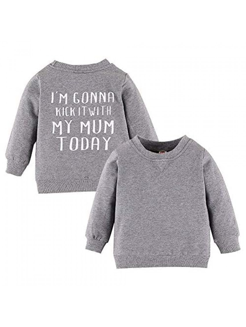 Toddler Infant Baby Boys Girls Sweater Letter Print Long Sleeve Pullover Sweatshirt Top Cotton Blouse Outfit