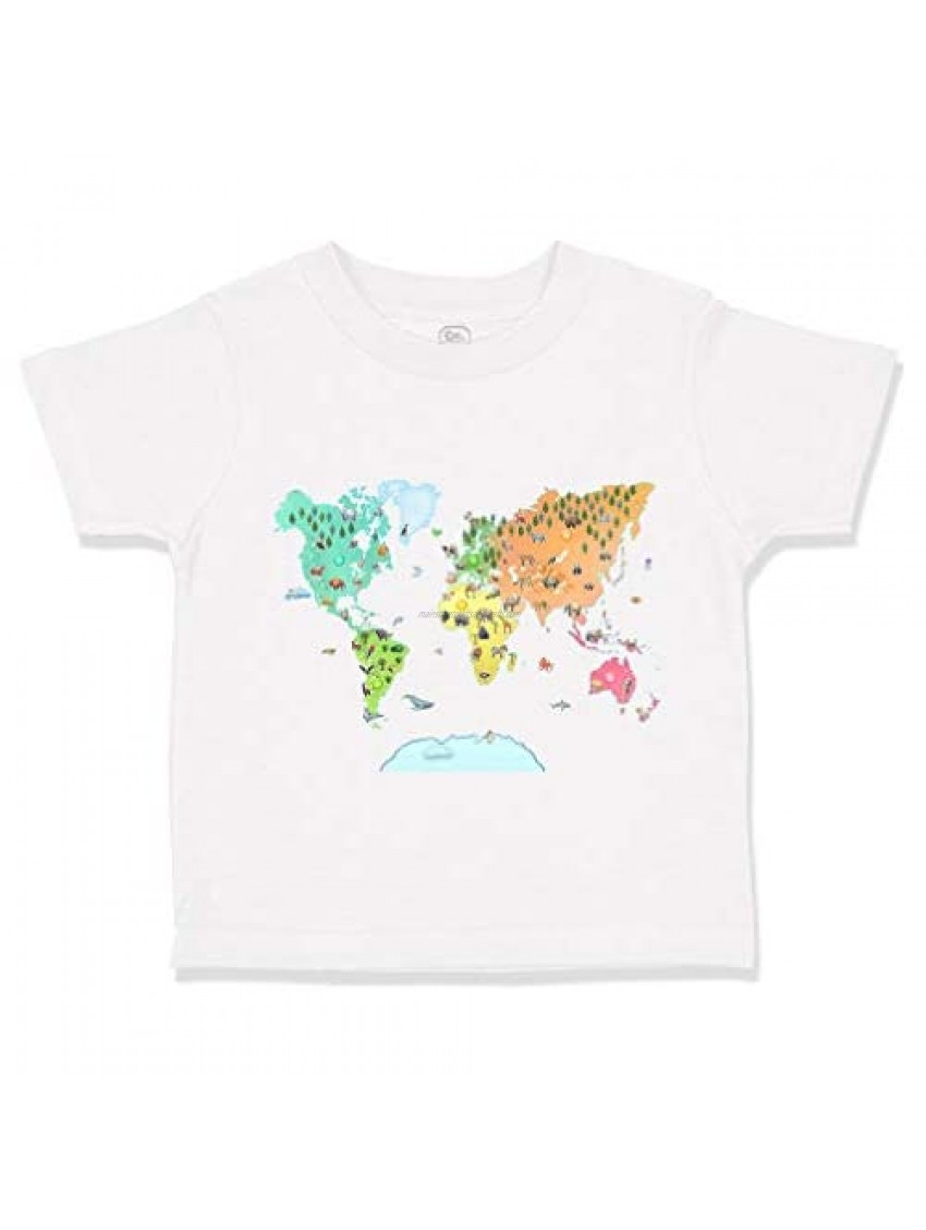 Custom Toddler T-Shirt Map of Animals Around The World Cotton Boy & Girl Clothes
