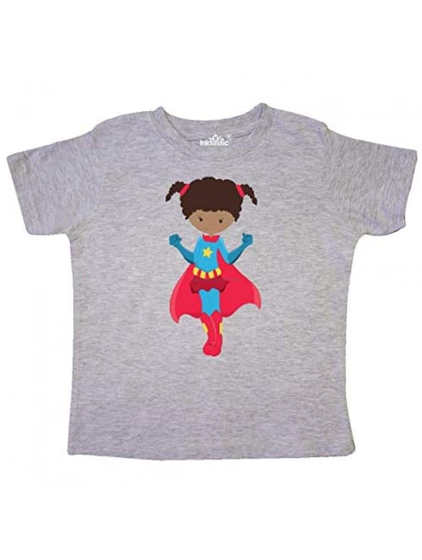 inktastic African American Girl  Superhero Girl  Red Cape Toddler T-Shirt