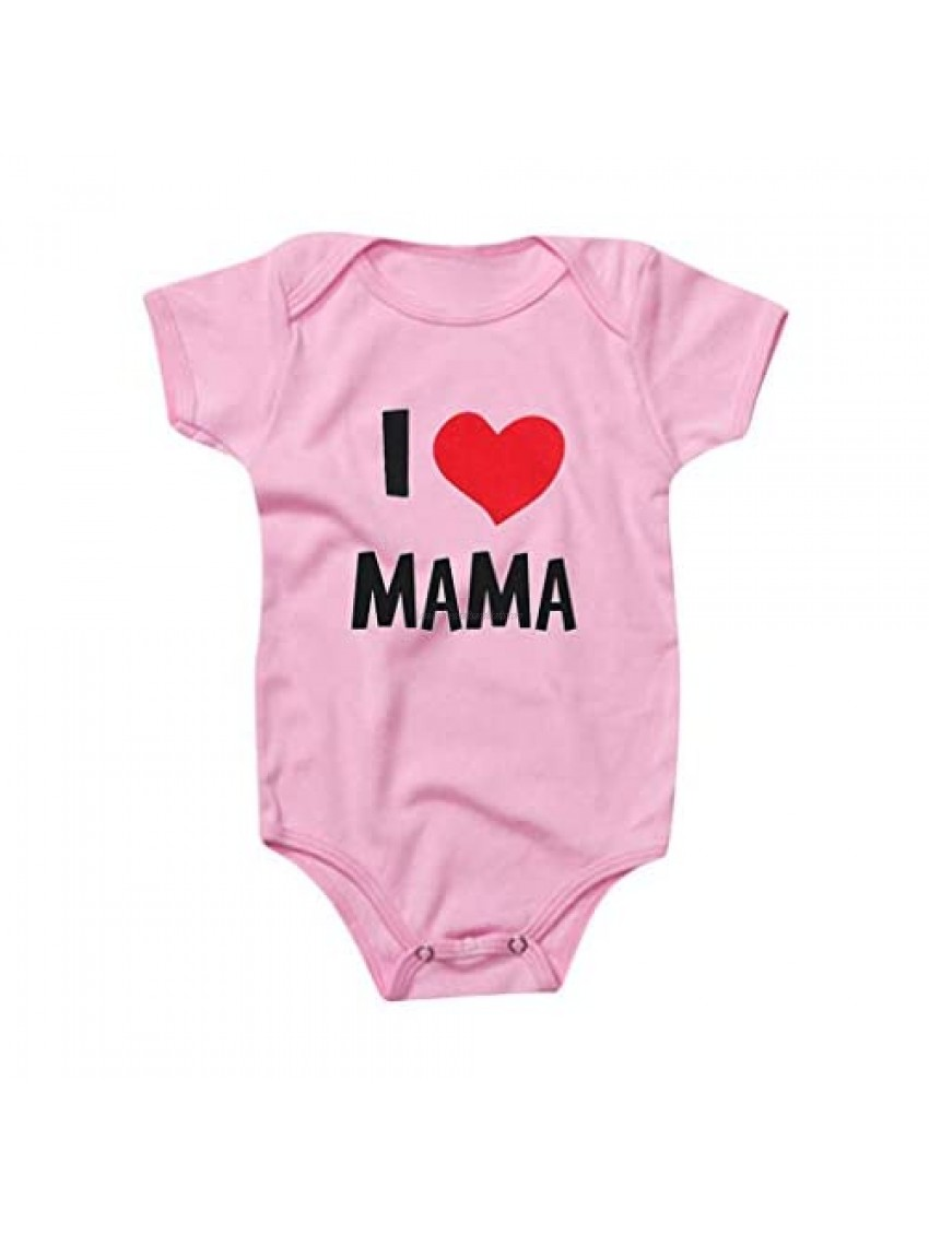 WOCACHI Mother's Day Baby Girls Boys Letter Bodysuit  Unisex Newborn Infant I Love Mama Romper Onesies with Saysings