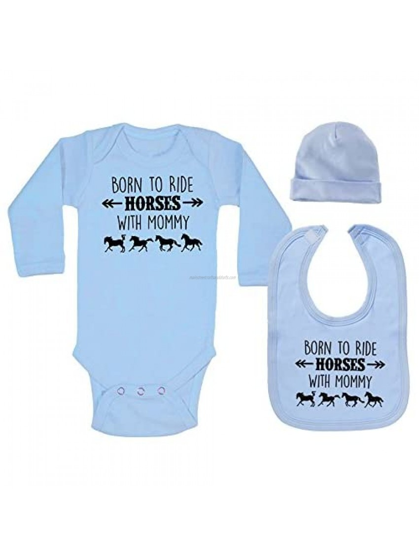 Born to Ride Horses with Mommy Long Sleeve Layette Set for Baby Boys and Girls - Equestrian Pony Onesie Gift