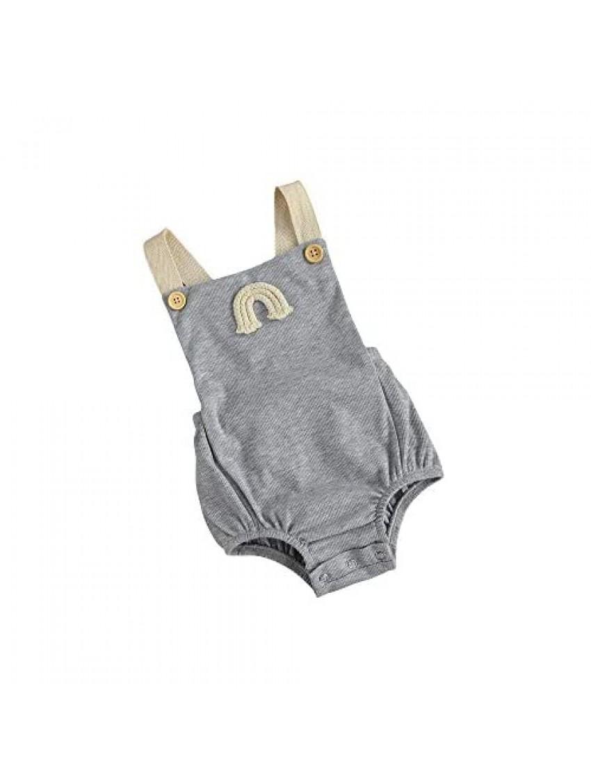 kids Baby Girl Boy Rainbow Ribbed Pompoms Romper Sleeveless Baby Girl Kint Clothes