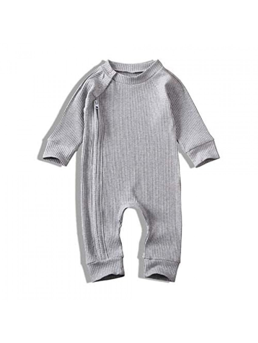 MiliMaDa Newborn Baby Boys Girls Clothes Romper Zipper Hooded Jumpsuit One Piece Outfit Fall Winter Outfits