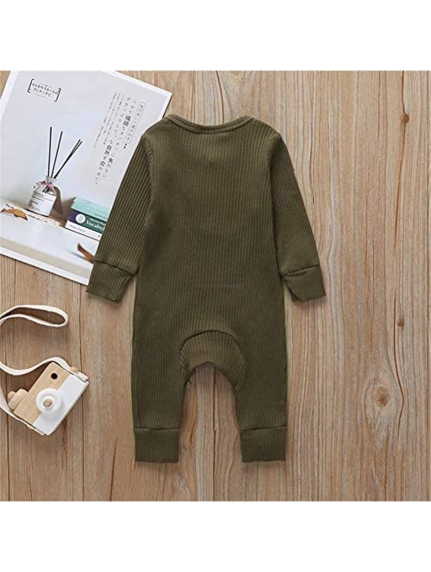 MSDMSASD Newborn Baby Boy Girl Romper Bodysuit Short Sleeve Solid Color Jumpsuit Button One Piece Clothes Outfits