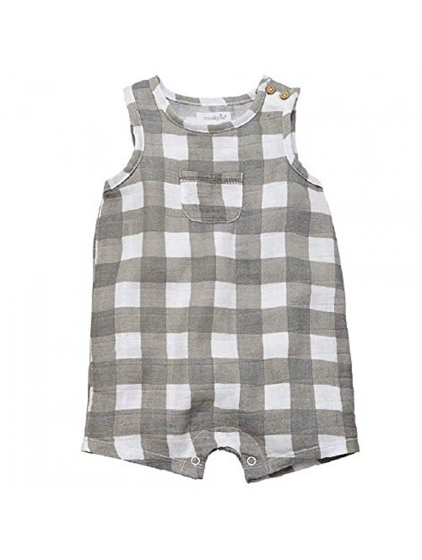 Mud Pie Baby Girl's Gingham Muslin Romper (Infant) Gray 0-3 Months (Infant)
