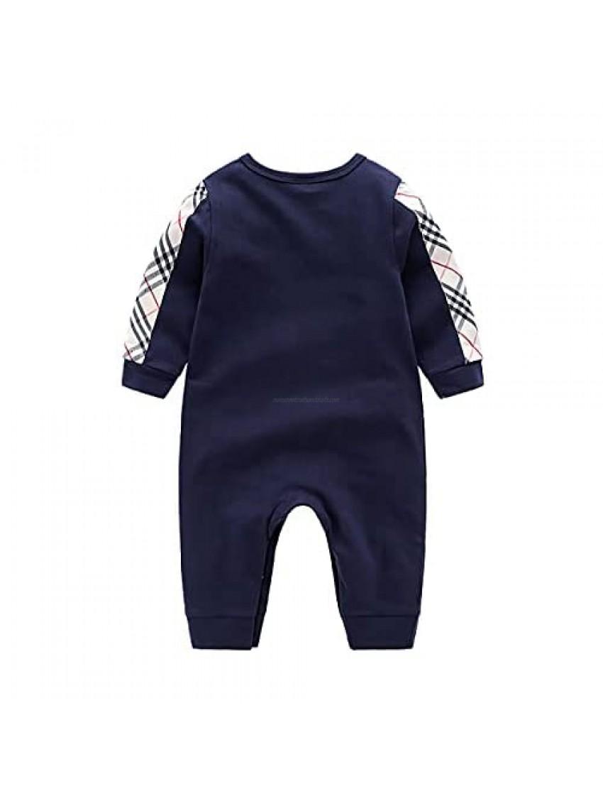 Newborn Baby Cotton Romper Bodysuit One Piece Jumpsuit with Hat and Bib Set