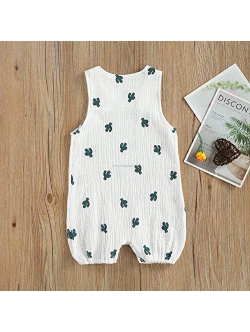 Newborn Baby Fashion Sleeveless Cactus Print Romper for Kids Children Boys Girls Pajamas Cotton One-Piece Suit