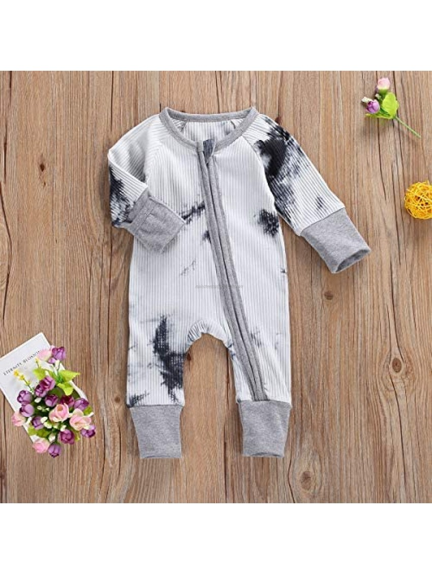 Seyurigaoka Baby Girl Boys' Romper Jumpsuit Tie Dye One-Piece Coverall Long Sleeve Ribbed Onesies Spring Outfit