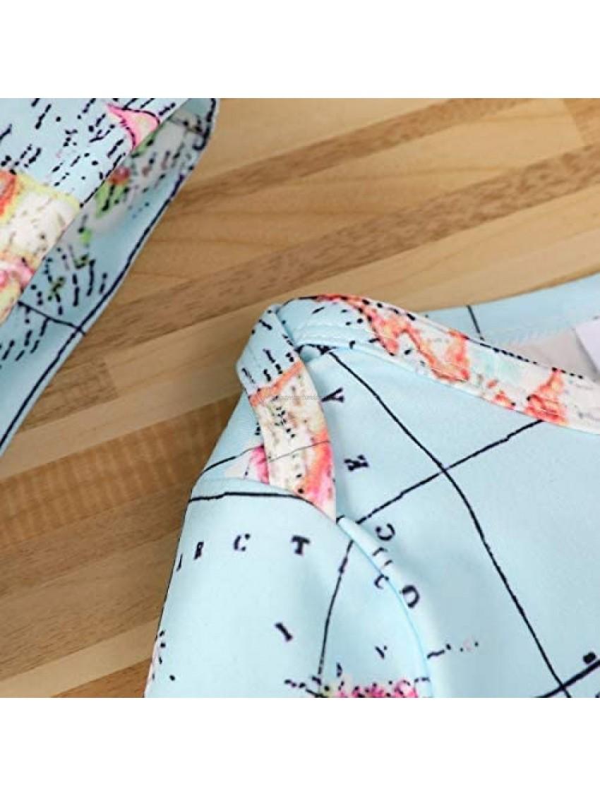 Verve Jelly Infant Baby Girls Boys Short Sleeve Romper Map Print Jumpsuit One Piece Summer Bodysuits