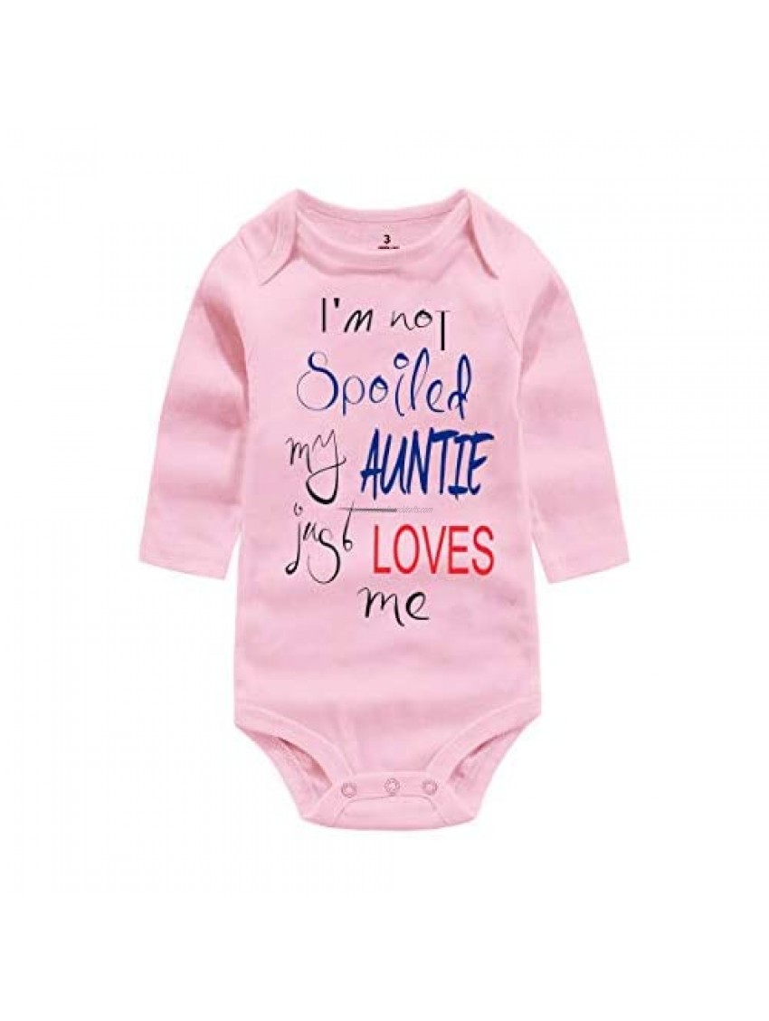 WINZIK Baby Boy Girl Bodysuit Outfit I'm Not Spoiled My Auntie Just Loves Me Infant One-piece Romper Jumpsuit Shirt Clothing