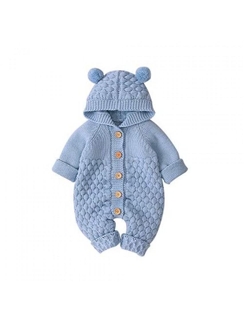 Ziyunlong Newborn Baby Boy Romper Sweater Romper Baby Girls Bodysuit Hooded Jumpsuit Kids Cute Toddler Clothes