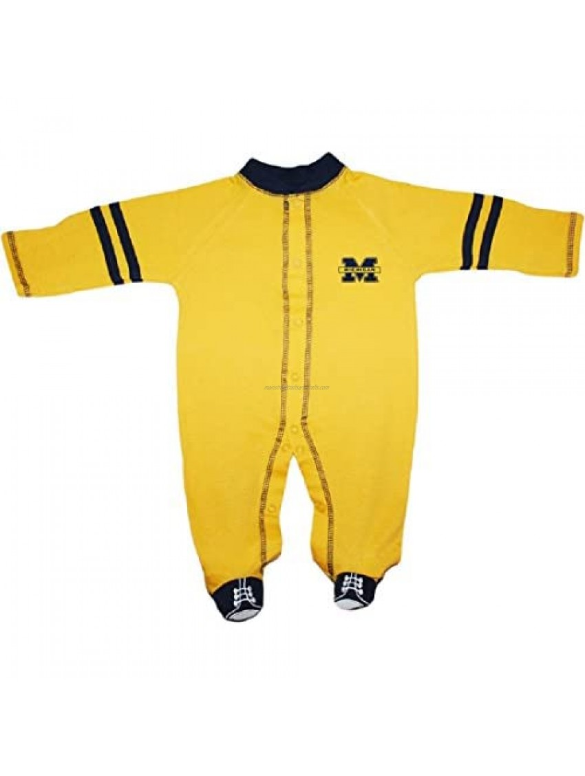 University of Michigan Wolverines Sports Shoe Footed Baby Romper