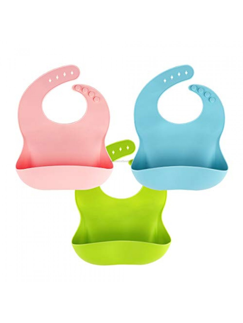 3 Pack Silicone Baby Bib for Babies & Toddlers (6-72 Months)  Waterproof  BPA Free  Green Pink and Blue  Easy Wipe Clean
